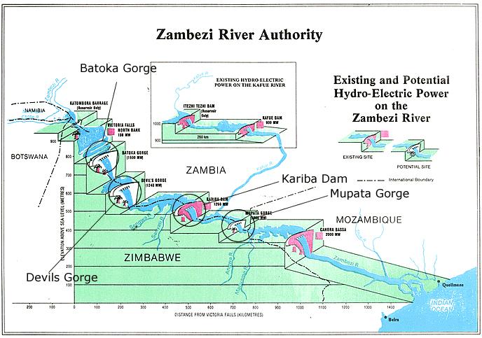 Lake Kariba Africa Map.To The Victoria Falls The Zambezi River